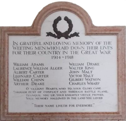 The War Memorial Plaque in St Marys Church